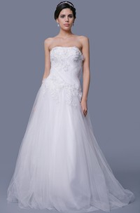 Tulle A-Line Dress With Beaded Appliques and Petals