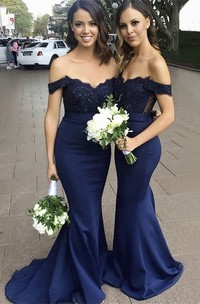 Appliqued Top Sleeveless Off-the-shoulder Sweetheart Mermaid Bridesmaid Dress