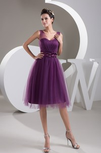Strapped Tulle Knee-Length Dress with Floral Waist
