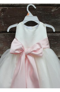 Ivory Sleeveless A-line Bow Sash Pageant Pastel Pink Toddler Dress