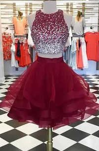 Two Piece High Neck Sleeveless Beading Ruffles Short Mini Tulle Homecoming Dress
