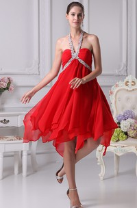 Sweetheart Empire Chiffon Midi Dress with Gemmed Halter