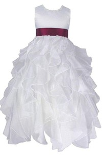 Sleeveless A-line Dress With Cascade Ruffles and Bow