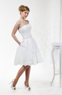 Elegant Lace Corset Knee-Length Wedding Dress With Pleats