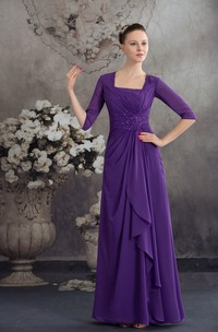 Square-Neck Half-Sleeve Chiffon Maxi Dress with Central Ruching and Beading