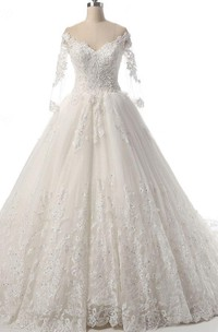 Long Sleeve Court Train Tulle Lace Dress With Beading Illusion