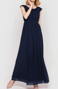 Newest Modest Chiffon Formal Dress With Bow