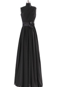 High-neck A-line Chiffon Dress With Satin Sash and Bow