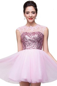 Cute Pink Sequins Sleeveless Homecoming Dress 2018 Tulle Short