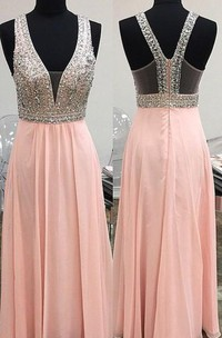 Lovely Pink Halter 2018 Prom Dress Long Chiffon With Beaidngs