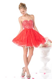 Muti-Color A-Line Short Sweetheart Sleeveless Backless Dress With Beading And Ruffles