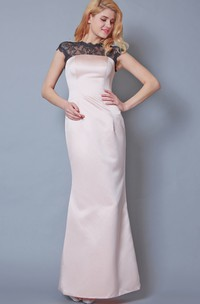 Short Sleeve Bateau Neck Long Satin Gown With Illusion Back