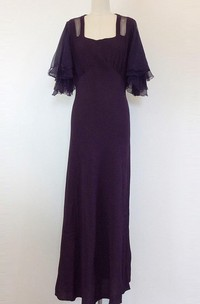30S Deep Purple Crepe Bias Cut Maxi 1930S Sheer Angel Sleeve Evening Gown Medium Size 8 Dress