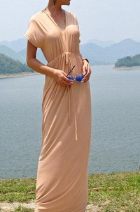Beige Nude V Neck Open Back Long Dress