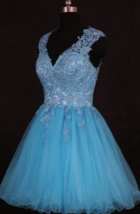 Short V-neck Organza Dress With Sequins