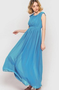 Sky Blue Long Chiffon Bridesmaid Dress