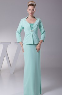 Spaghetti-Strap Sheath Floor-Length Dress with Bolero