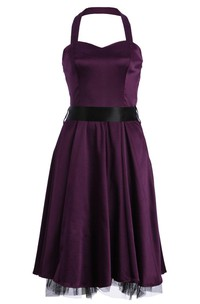 Halter A-line Stretch Satin Dress With Bow Tie