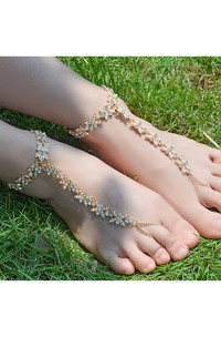 Summer Beach Alloy Diamond Pearls Yoga Anklets