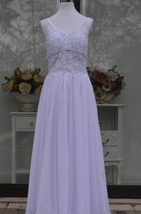 Jewel Sleeveless Backless Long Chiffon Wedding Dress With Sequins And Pleats