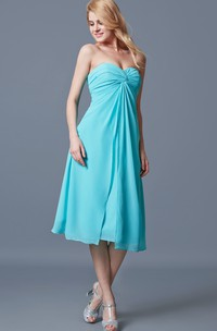 Sleeveless Sweetheart Ruched Tea-length Chiffon Dress