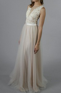 Tulle&Lace Dress With Appliques