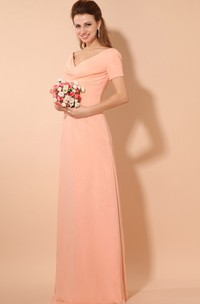 Chiffon Plunged Maxi V-Neck Short-Sleeve Dress With Pleating