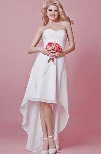 Chic High-low Sweetheart Chiffon Dress With Pleated Bodice