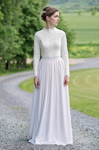 Modest Lace and Chiffon Jewel-Neck Long-Sleeve sheath Bridal Gown