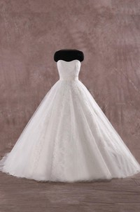 Gorgeous Lace Ballgown Wedding Soft Sweetheart Bridal Gown Dress