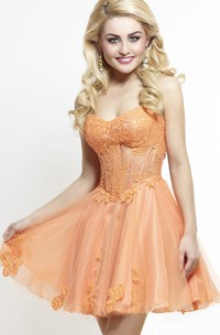 A-Line Short Sweetheart Sleeveless Tulle Appliques Pleats Backless Dress