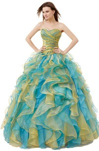 Sweetheart Ballgown With Ruffles and Beadings
