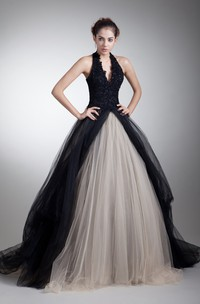 plunged jeweled ball sleeveless gown with halter and tulle overlay