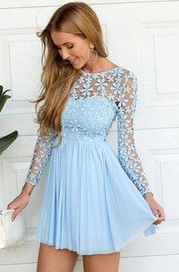 A-line Jewel Long Sleeve Pleats Ruching Short Mini Chiffon Lace Homecoming Dress