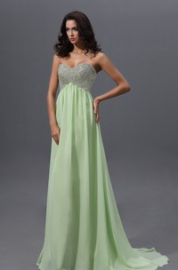 Empire Graceful A-Line Sweetheart Sleeveless Gown With Sequined Bodice