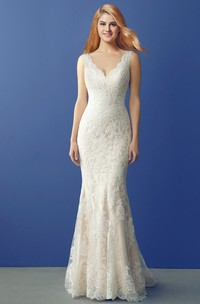 Fit and Flare Lace Wedding Dress with V Neckline