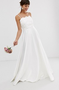 Simple Satin Sheath Spaghetti Floor Length Wedding Dress