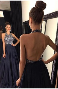 Sexy Black Halter 2018 Prom Dresses Backless Long Chiffon With Beadings