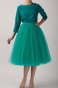 Emerald Tulle Tutu Skirt Tea Length Dress