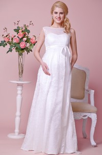 Allover Lace Illusion Bateau Neck Cap-Sleeved Maternity Wedding Dress With Satin Bow