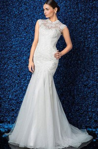 Elegant High-Neck Cap Sleeve Mermaid Lace and Tulle Wedding Dress