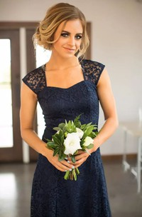 Romantic Adorable Short Mini Sheath Square Lace Simple Sleeveless Keyhole Bridesmaid Dress