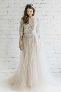 Bateau Lace Half Sleeve A-Line Tulle Dress With Low-V Back