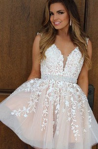 A-line Ball Gown V-neck Sleeveless Beading Ruching Ruffles Short Mini Lace Homecoming Dress