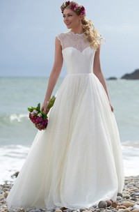 High Neck Floor-Length Lace Wedding Dress With Illusion