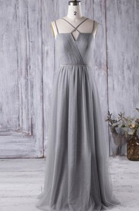 Criss Cross Spaghetti Straps Pleated A-line Chiffon Long Dress