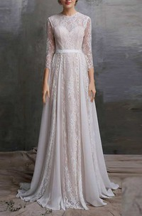 Jewel-Neck Lace Long Sleeve Pleated A-Line Wedding Dress