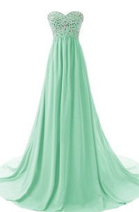 Sweetheart Pleated Chiffon A-line Gown With Rhinestones