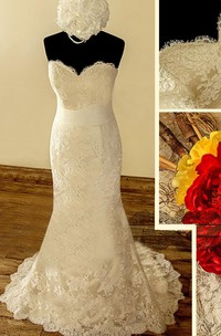 Sweetheart Button Back Sheath Lace Wedding Dress With Sash And Flower