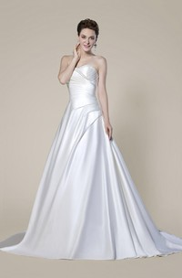 Strapless Elegant Beaded Criss Cross Bridal Dress With Button Back And Draping